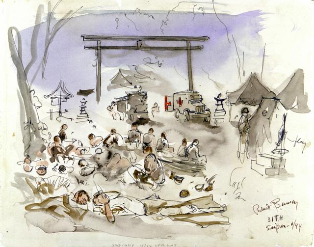 "Artwork: ""The Wounded,"" Saipan, June 1944- Artist: Robert Benney"