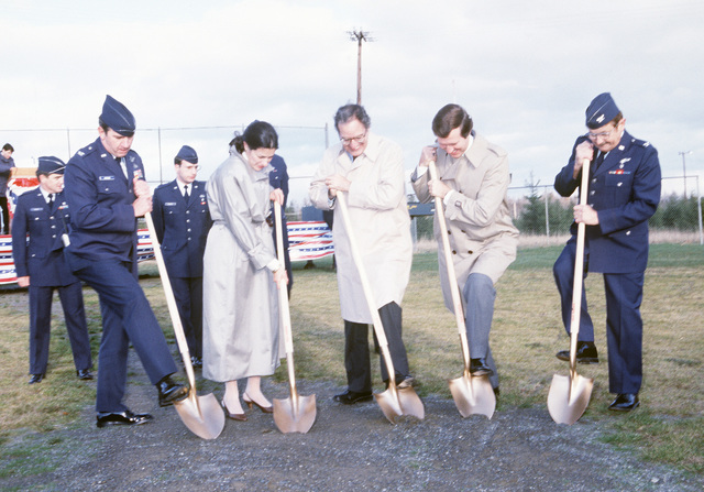 Representative Olympia J. Snowe, Republican-Maine, second from the left, and Senator William S. Cohen, Republican-Maine, second from the right, and other dignitaries break ground for a new base hospital