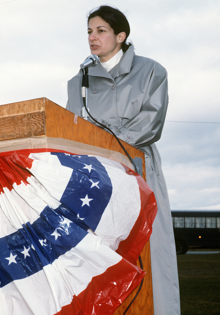 Representative Olympia J. Snowe, Republican-Maine, speaks during a ground-breaking ceremony for the new base hospital