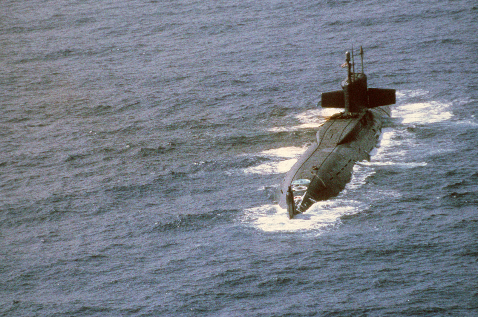 A starboard quarter view of the Soviet Yankee class nuclear-powered ballistic missile submarine that was