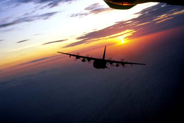 Air to air front view of Special Operations Wing AC-130 Hercules gunship on a training mission over the Gulf of Mexico. Exact Date Shot Unknown