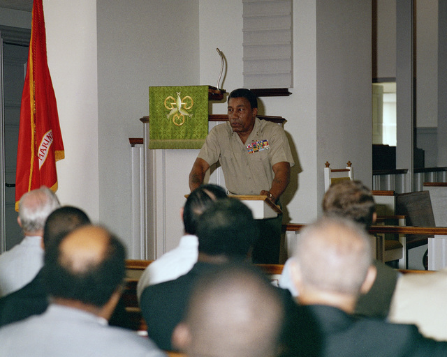 Lieutenant General (LGEN) Frank E. Petersen Jr., commanding general, Marine Corps Development and Education Command, addresses a gathering of clergymen and military chaplains in Memorial Chapel