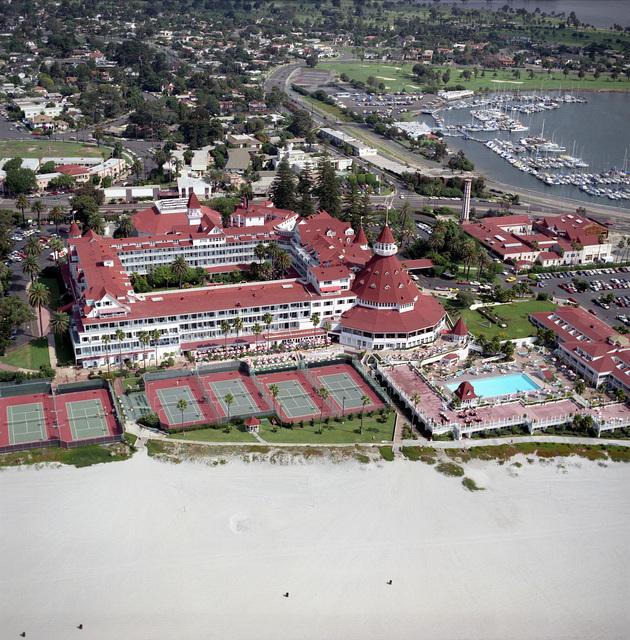 Aerial view of the Hotel Del Coronado in Coronado, California