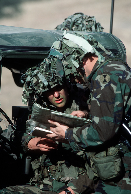 Members of the Tactical Air Control Party coordinate air operations during the joint US Army/Air Force Exercise CALFEX'86 (combined arms live fire exercise)