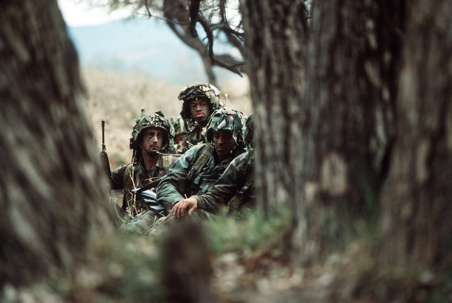 Soldiers of the 7th Infantry Division participate in the joint US Army/Air Force Exercise CALFEX'86 (combined arms live fire exercise)