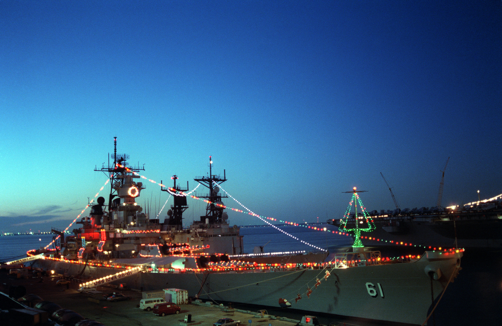 Are The Ships At Norfolk Naval Base Decorated For Christmas 2020 Christmas lights and decorations adorn the battleship USS IOWA (BB