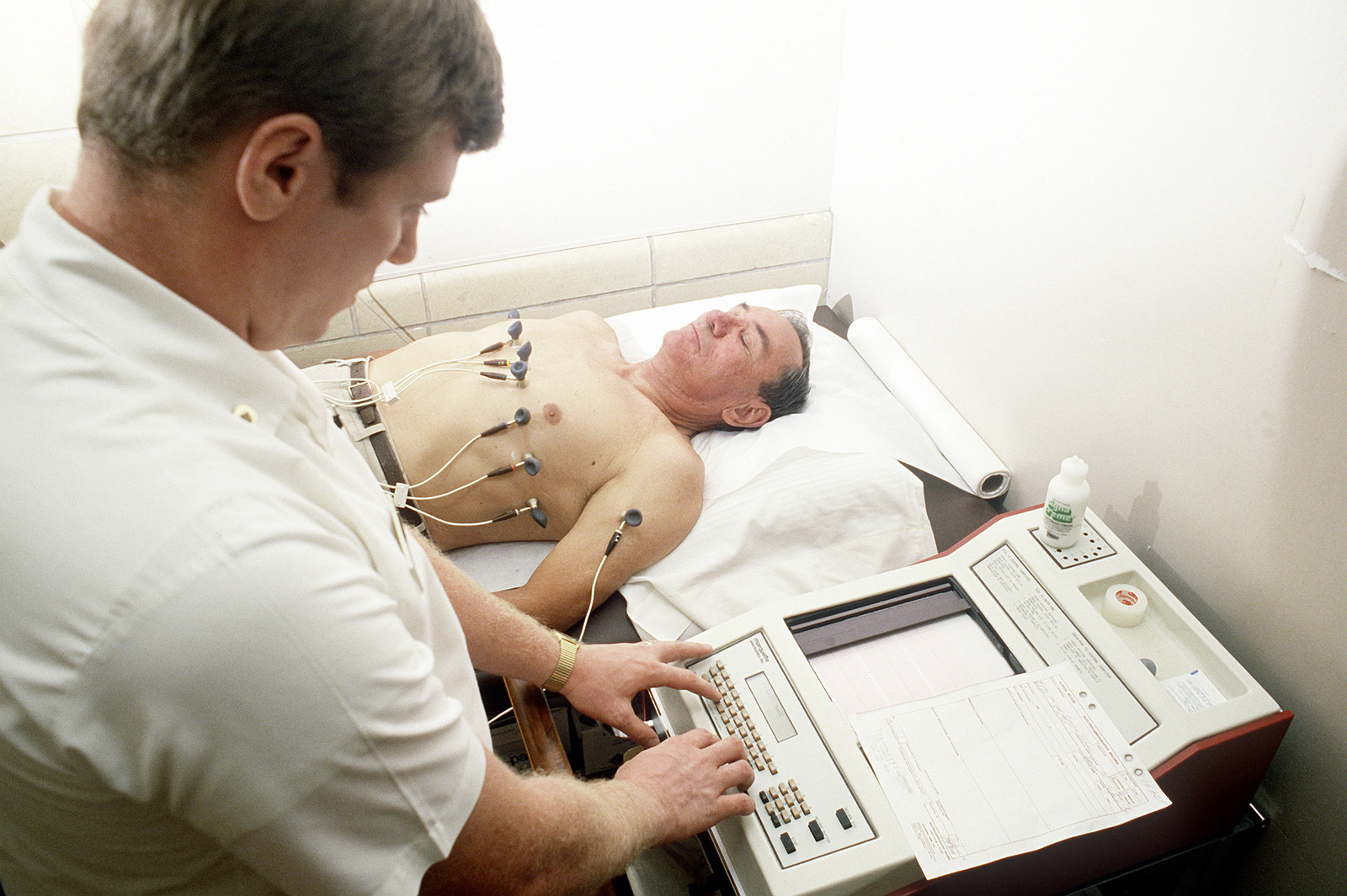 A technician performs an electrocardiogram (EKG) on a patient at the Fitzsimons Army Medical ...