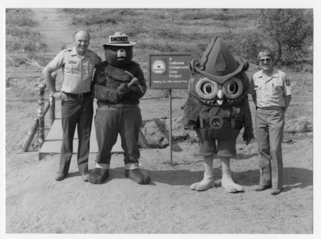 Jim Van Meter - California Department of Fire, Smokey, Woodsy (Robert Saunders, U.S. Forest Service), Bob Robbins - U.S. Forest Service