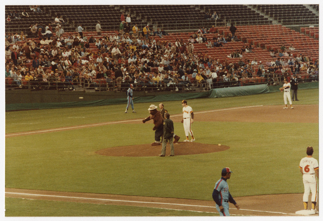 Smokey Bear Throwing Out the First Pitch of the Game during Smokey Bear Baseball Card Night