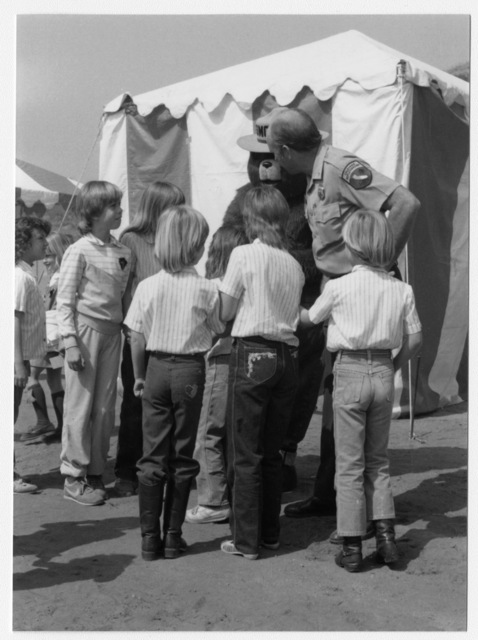 Wild Animal Park, Arbor Day, Jim Van Meter of California Department of Fire and Smokey Bear with Children