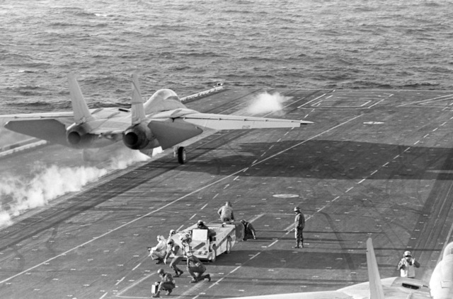 A Naval Air Reserve Fighter Squadron 302 (VF-302) F-14A Tomcat aircraft is launched from the aircraft carrier USS CONSTELLATION (CV 64)