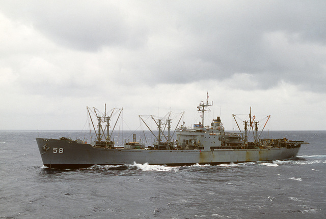 A port bow view of the Military Sealift Command store ship USNS RIGEL (T-AF 58) underway during operations with the 6th Fleet