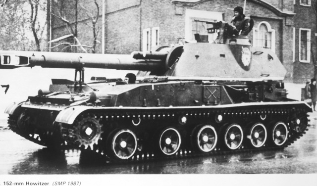 A Soviet 152mm self-propelled gun