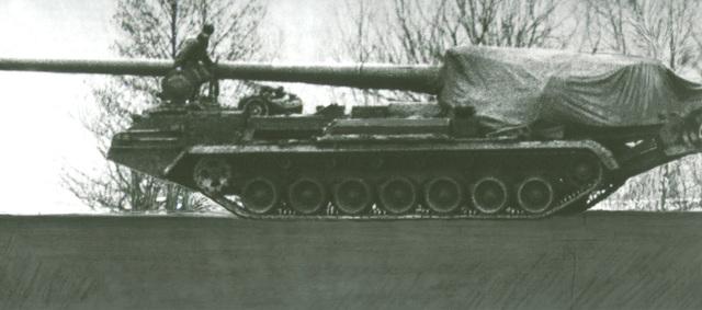 A Soviet 2S7 203mm self-propelled gun