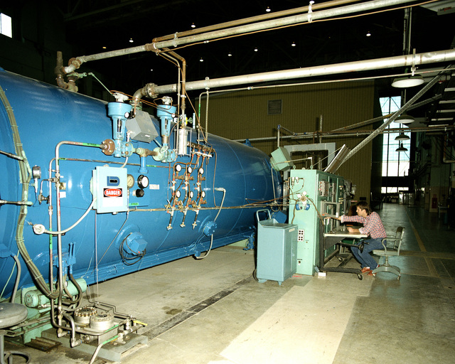 A view of the interior of an autoclave used primarily for the fabrication of composite structural assemblies. The autoclave is used to support the programs of the Air Force Wright Aeronautical Laboratories (AFWAL) and other agencies