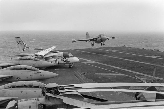 An A-6E Intruder aircraft prepares for a landing aboard the aircraft carrier USS JOHN F. KENNEDY (CV 67)