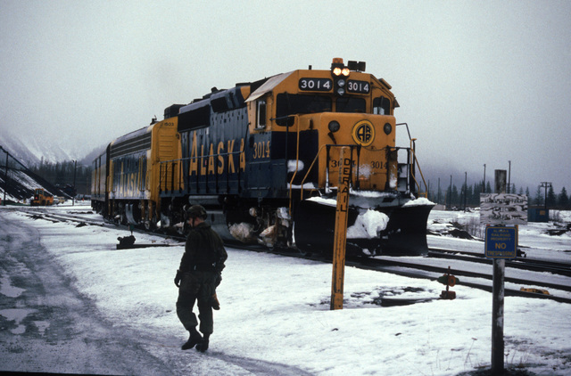An Alaska Railroad troop train arrives with members of of the 1ST and 17th Airborne Companies onboard during Exercise BRIM FROST'87