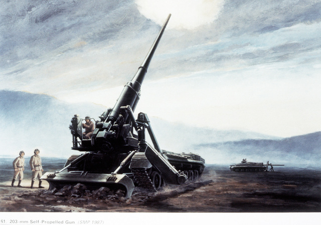 An artist's concept of a Soviet 203mm self-propelled gun (foreground) and a self-propelled 240mm mortar