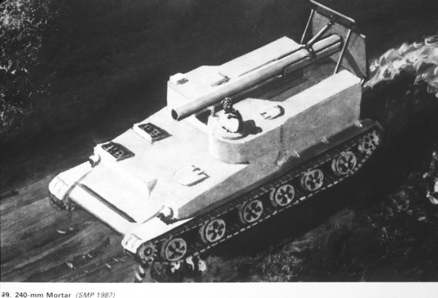 An artist's concept of a Soviet self-propelled 240mm mortar