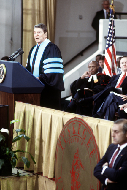 President Ronald Reagan gives graduation address to the graduating class of Tuskegee University their friends and families during ceremonies held at the university. Exact Date Shot Unknown