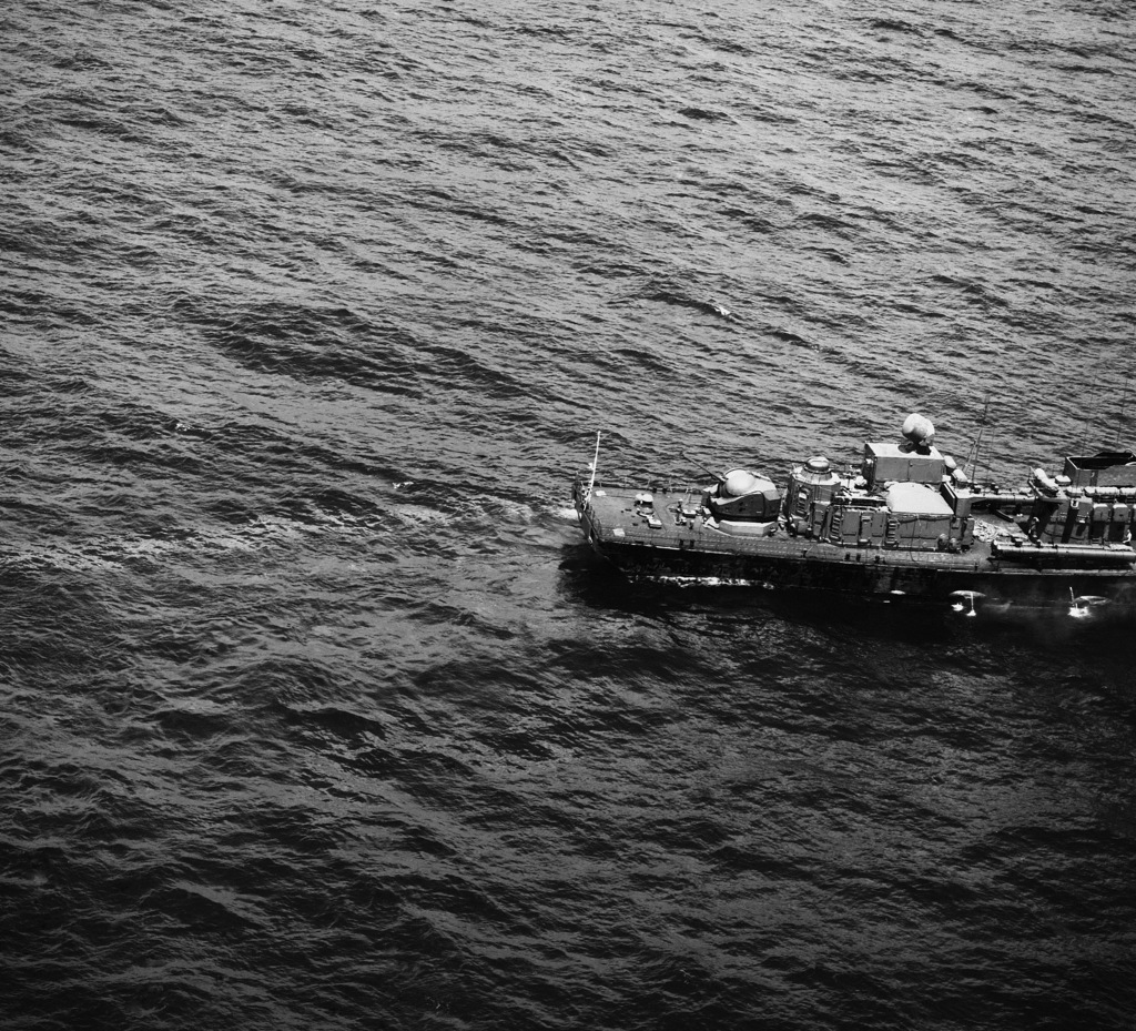 View of the stern section of a Soviet Grisha III Class Anti-submarine Frigate displaying a 30 mm gun twin 57 mm gun and Bass Tilt weapon control radar