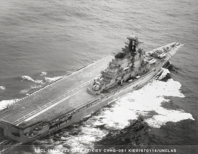 An aerial starboard quarter view of the Soviet Aircraft Carrier KIEW (CVHG) underway