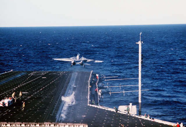A Naval Air Reserve Fighter Squadron 301 (VF-301) F-14A Tomcat aircraft is launched during carrier qualifications aboard the aircraft carrier USS CONSTELLATION (CV 64)