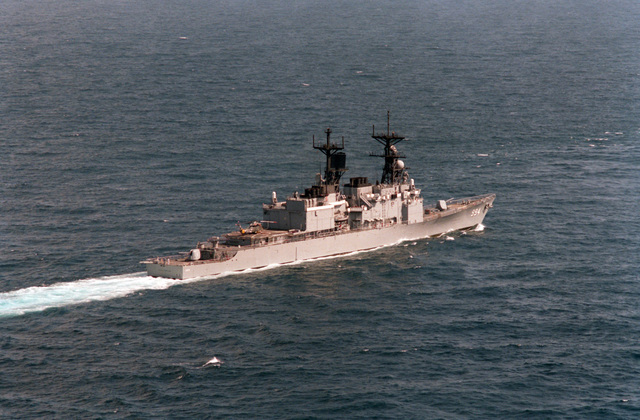 A starboard quarter view of the guided missile destroyer USS CALLAGHAN (DDG 994) underway