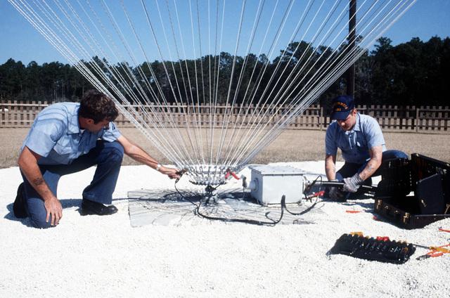 Electronics Techn ician Second Class (ET2) McCandless and Radioman SEAMAN (RMSN) Skrzelowski perform preventive maintenance (PMS) on an inverted cone HF antenna