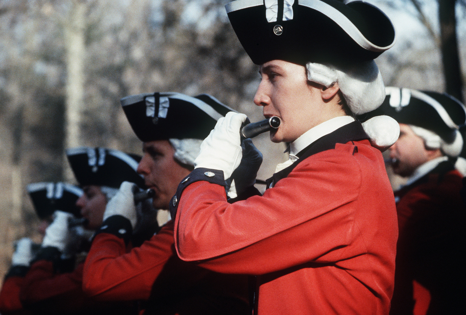 Members of the old Guard Fife and Drum Corps perform during a ceremony commemorating George Washington's 255th birthday