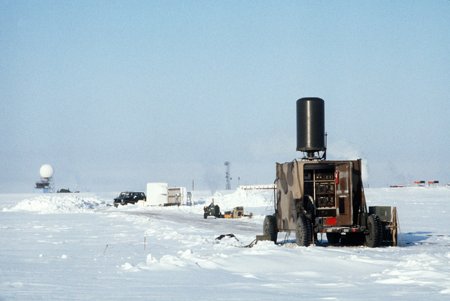 A tactical air navigation (TACAN) system van is positioned facing toward the runway during Exercise COBBLER FREEZE'87, a cold-weather force projection exercise conducted by the Alaskan Air Command