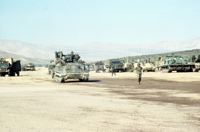A 4th Infantry Division M163 Vulcan 20 mm self-propelled anti-aircraft gun returns to the vehicle staging area after an exercise at the National Training Center