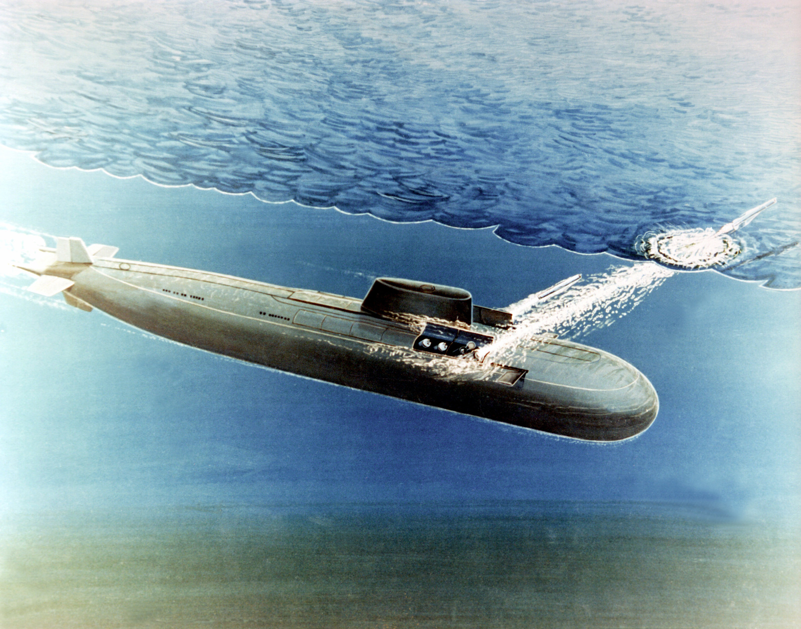 An artist's concept of a Soviet Oscar class cruise missile submarine launching two SS-N-19 cruise missiles while submerged