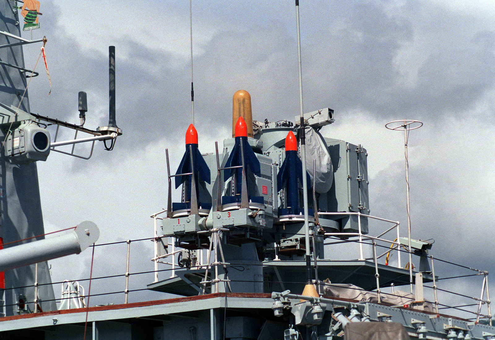 A close-up view of Sea Cat missiles on the New Zealand frigate HMNZS WELLINGTON (F-69)