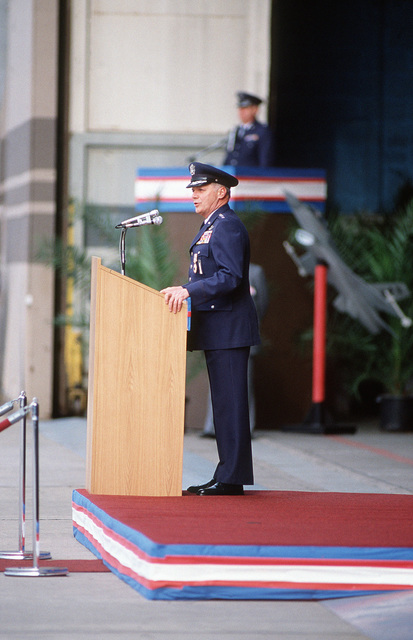 General (GEN) Charles L. Donnelly Jr., departing commander in chief, US Air Force Europe, and Allied Air Forces Central Europe, speaks during the change of command ceremony.  Donnelly is being replaced by GEN William L. Kirk, former commander, 9th Air Force