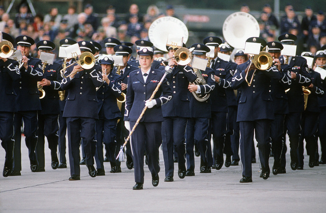 Members of the US Air Force Europe Band perform during the change of command ceremony for General (GEN) Charles L. Donnelly Jr., departing commander in chief, US Air Force Europe, and Allied Air Forces Central Europe.  Donnelly is being replaced by GEN William L. Kirk, former commander, 9th Air Force