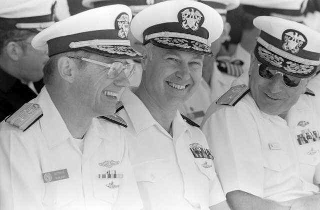 Rear Admiral (RDML) (lower half) Wallace N. Guthrie Jr., deputy vice commander, Submarine Fleet Atlantic, left, and two other flag officers attend a ceremony commemorating the completion of the 2,500th deterrent patrol by fleet ballistic missile submarines of the US Navy. The 2,500th patrol was completed by the nuclear-powered ballistic missile submarine USS MARIANO G. VALLEJO (SSBN 658)