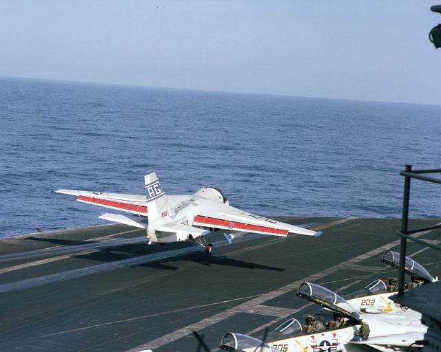 "An S-3A Viking aircraft performs a ""touch and go"" landing aboard the nuclear-powered aircraft carrier USS DWIGHT D. EISENHOWER (CVN 69)"