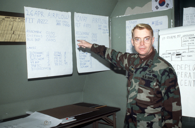 Lieutenant Colonel (LTC) Baumann, Headquarters, 311th Corps Support Command, gives a briefing on the personnel redeployment schedule at the conclusion of the joint US/South Korean Exercise TEAM SPIRIT '87. Baumann is the commander of the redeployment center for the exercise
