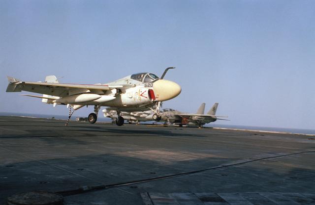A KA-6D Intruder aircraft lands aboard the nuclear-powered aircraft carrier USS DWIGHT D. EISENHOWER (CVN 69)
