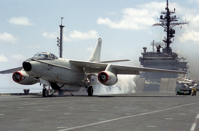 A fleet Air Reconnaissance Squadron (VQ-1) EA-3B Skywarrior aircraft is launched from the flight deck of the aircraft carrier USS KITTY HAWK (CV-63)