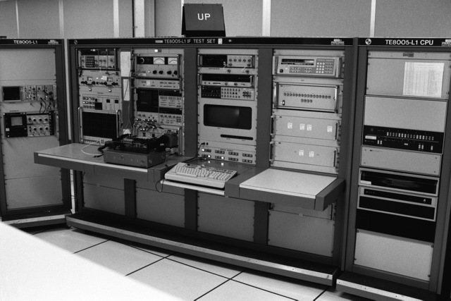 A view of a TE-8008L test set, part of the computer-assisted test equipment housed in the Module Repair Facility for checking circuit boards used in the Mark 16 Phalanx close-in weapon system (CIWS). The ordnance station is the designated overhaul and repair facility for the Phalanx CIWS