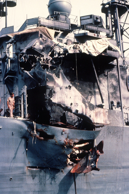 A view of damage sustained by the guided missile frigate USS STARK (FFG-31) when it was hit by two Iraqi-launched Exocet missiles while on patrol in the Persian Gulf