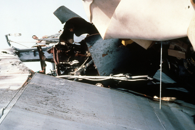 A view of damage sustained by the guided missile frigate USS STARK (FFG-31) when it was hit by two Iraqi-launched Exocet missile while on patrol in the Persian Gulf