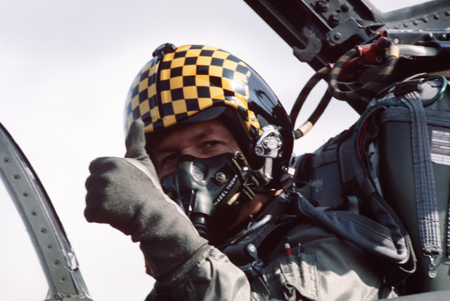 Lieutenant Colonel (LTC) Rick Haglethorn, assigned to the 191st Fighter Interceptor Group, gives the thumbs up signal from the cockpit of his aircraft.  Haglethorn is participating in Exercise AMALGAM BRAVE'87, an air defense training exercise