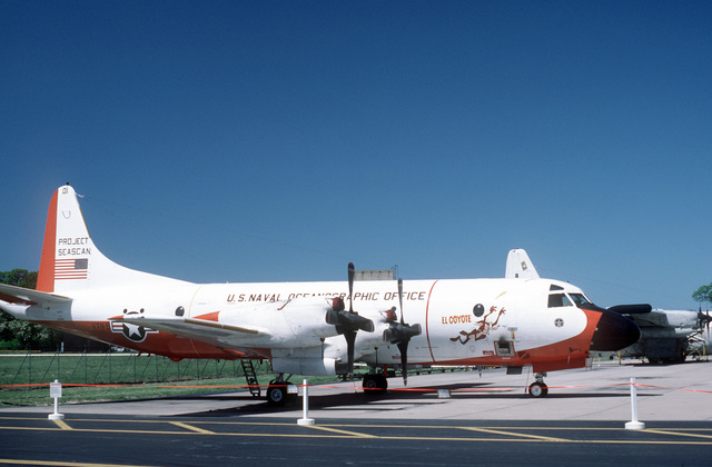 An Oceanographic Development Squadron 8 (VXN-8) RP-3D Orion aircraft parked on the tarmac during an open house
