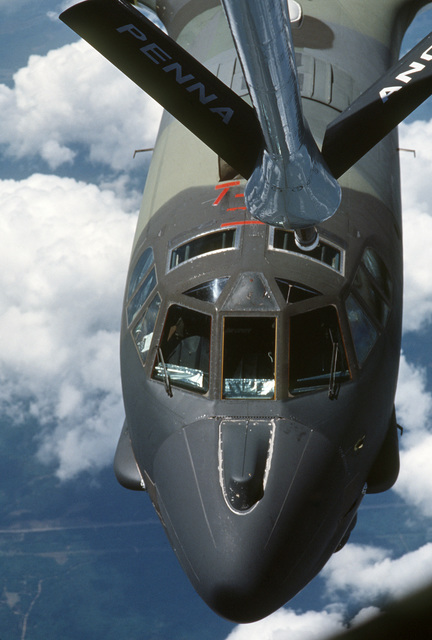 A KC-135E Stratotanker aircraft from the 171st Air Refueling Wing, Pennsylvania Air National Guard, refuels a B-52G Stratofortress bomber from the 379th Bombardment Wing during Exercise KEYSTONE BADGER