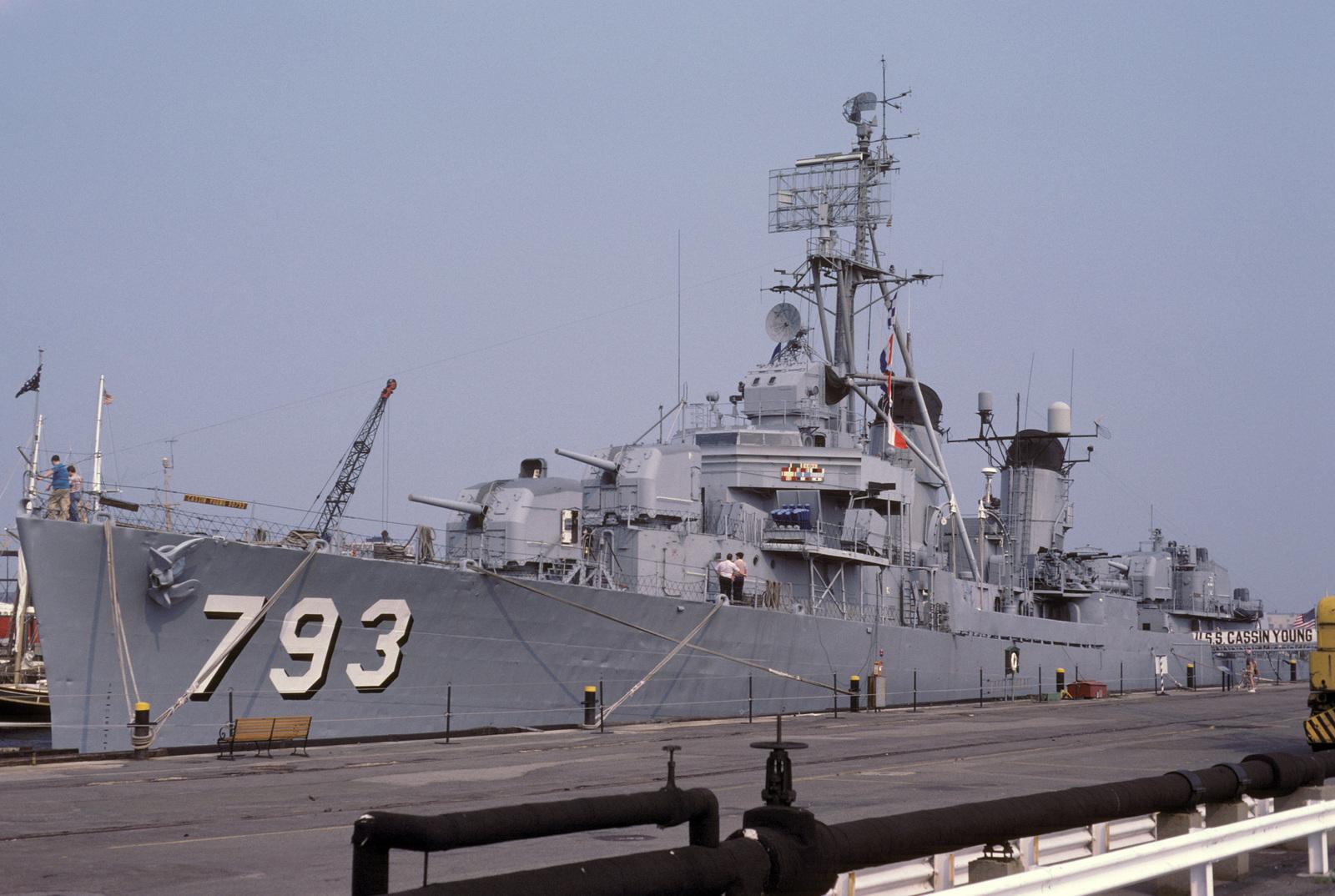 A port bow view of the Fletcher class destroyer USS CASSIN