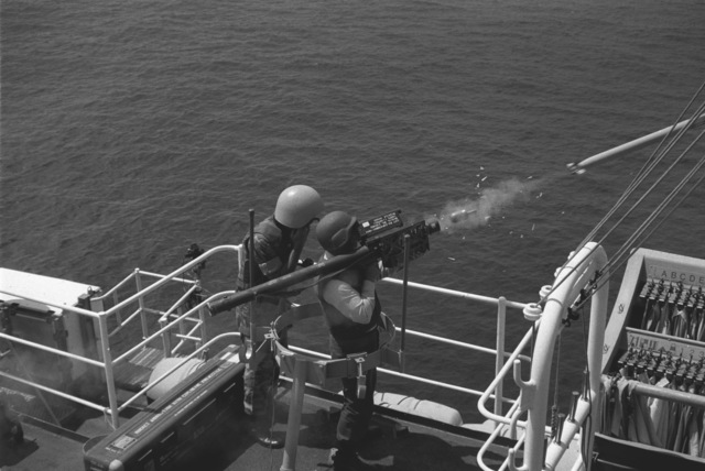 US Navy (USN) personnel test firing a Stinger Missile aboard the USN Newport Tank Landing Ship Class USS BARBOUR COUNTY (LST 1195)