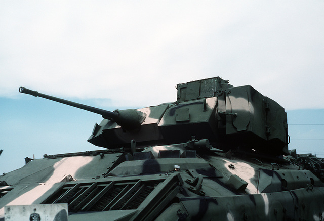 A close-up view of the 25mm chain gun mounted on the top of a U.S. Army M-3 Bradley infantry fighting vehicle on display at the U.S. Army Aberdeen Proving Grounds